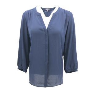 NYDJ  Long Sleeve Sheer Tunic Button Down Top Sz L